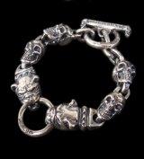 2Bulldogs With 4Skulls Bracelet