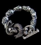 Skull On Snake With Skulls Links Bracelet
