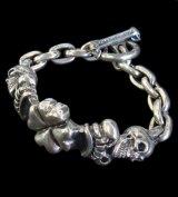 2Skull On 4Heart Crown & Chain Links Bracelet