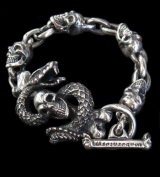 Skull On Snake With 4Skulls & Chain Links Bracelet