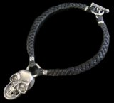 Giant Skull With braid leather necklace