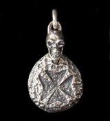 Maltese Cross Blob With Skull Pendant