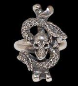 Quarter Skull On Snake With G Stamp Loop Ring
