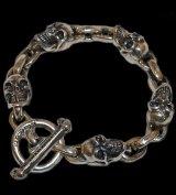 Slant Head Skull & Chain Link Bracelet