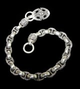 Sculpted Oval Keeper & 2Lion Heads with H.W.O & Anchor Chain Links Wallet Chain