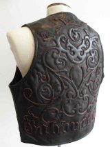Gaboratory Tailored Leather Vest (Tribal art work)