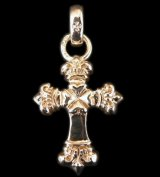 Gold One Eighth Long 4 Heart Crown Cross With H.W.O Pendant
