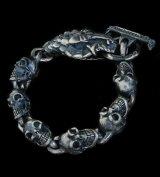 Snake Head With Skulls Links Bracelet