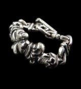 2Skull On 4 Heart Crown & Boat Chain Links Chain Bracelet