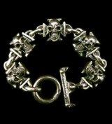 5 Skull On Iron Cross Bracelet