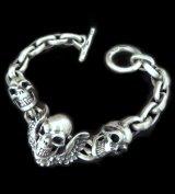 Skull wing with 2skulls bracelet