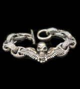 Wing Skull With Chiseled H.W.O & Chiseled Anchor Links Bracelet