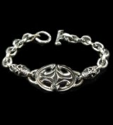 Quarter Sculpted Oval  ID With 2Skulls & Small Oval Links Bracelet