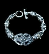 Half Sculpted Oval With Old Bulldog & Bulldog & Small Oval, Boat Chain Bracelet