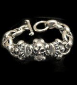 Skull On 4Heart ID With H.W.O & Anchor Links All Smooth Bracelet