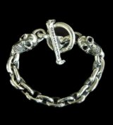 2Skulls With Small Oval Chain Links Bracelet