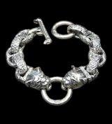 Bulldog With Chiseled H.W.O & Chiseled Anchor Links Bracelet