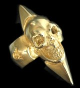 10k Gold Skull with Spike Ring