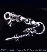 Skull on clip with maltese cross H.W.O & chiseled anchor key ring