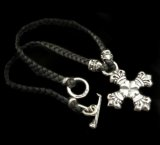 Quarter 4heart crown cross with bolo neck braid leather necklace