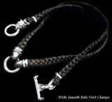 C-ring With 2 Smooth Bolo Neck Clamps & Quarter Bulldog Braid Leather Necklace