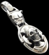 Bulldog & Battle-Ax On Skull Pendant