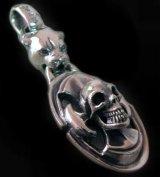 Panther & Battle-Ax On Skull Pendant