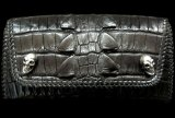 Crocodile W-Spine Tail All Gusset Wallet With Skull Button