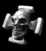 Skull On Square Hammer Cross Ring