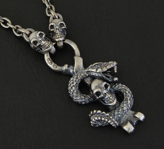画像2: Half Snake Skull With Quarter Skull Chain Necklace