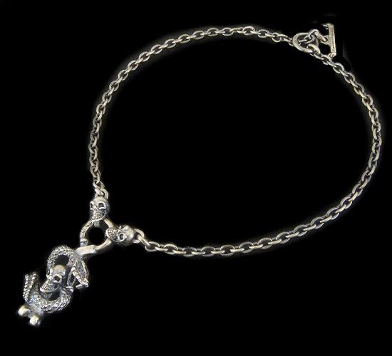 画像1: Half Snake Skull With Quarter Skull Chain Necklace
