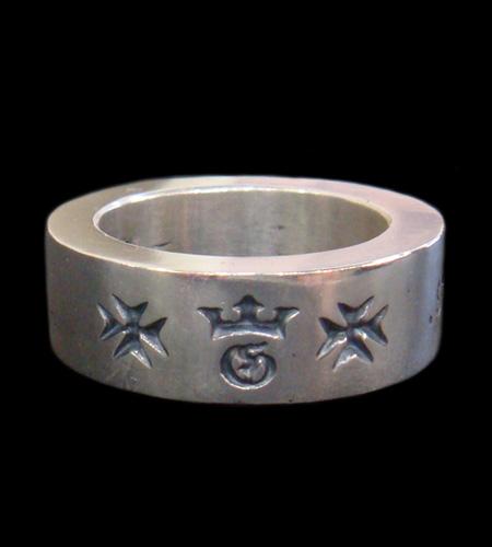 画像1: Narrow G&Crown Gothic Cigar Band Ring