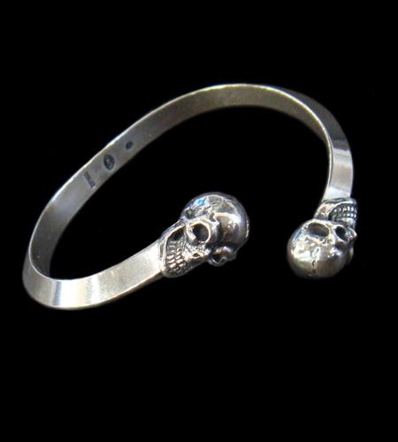 画像1: Half Skull Triangle Wire Bangle