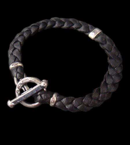 画像1: Half H.W.O braid leather bracelet