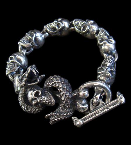 画像1: Skull On Snake With Skulls Links Bracelet