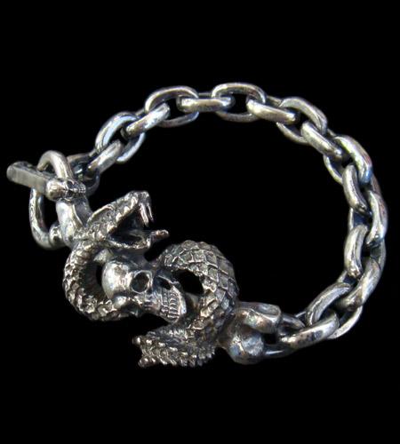 画像1: Skull On Snake & Chain Links Bracelet