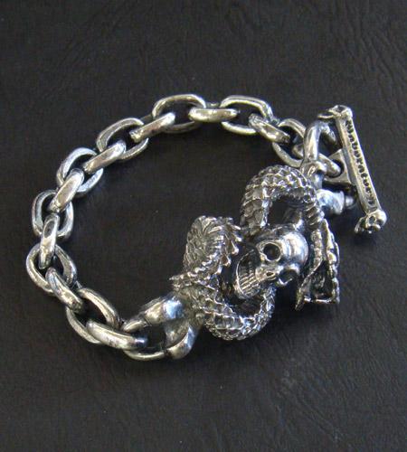 画像2: Skull On Snake & Chain Links Bracelet