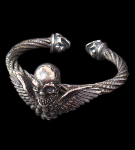 画像1: Wing Skull With Roller Tip Wire Bangle