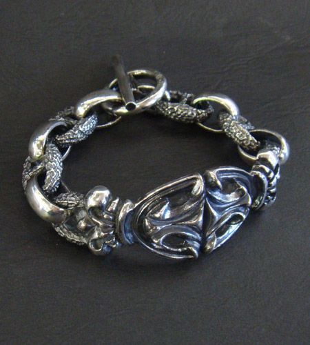 画像2: Crown Sculpted Oval With H.W.O & Chiseled Anchor Chain Bracelet