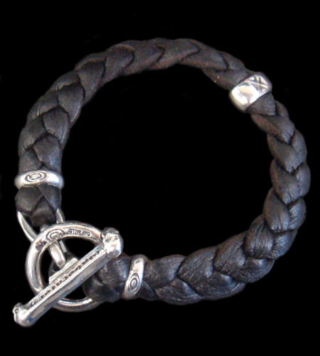 画像1: H.W.O braid leather bracelet
