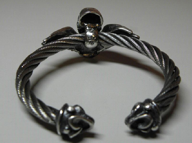 画像5: Wing Skull With Roller Tip Wire Bangle