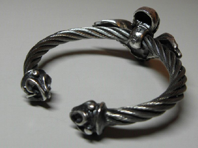 画像4: Wing Skull With Roller Tip Wire Bangle