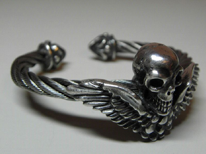 画像3: Wing Skull With Roller Tip Wire Bangle