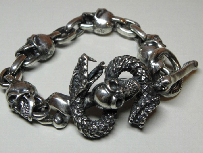画像4: Skull On Snake With 4Skulls & Chain Links Bracelet