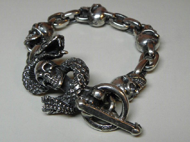 画像3: Skull On Snake With 4Skulls & Chain Links Bracelet