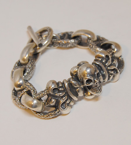 画像2: Skull On 4Heart Crown With H.W.O & Chiseled Marin Chain Bracelet