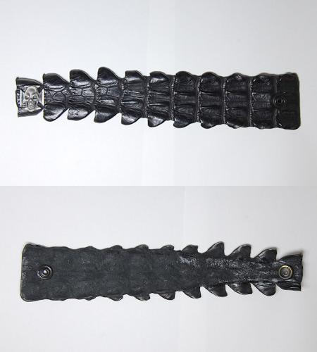 画像5: Skull On Iron Cross W-Spine Crocodile Tail Bracelet