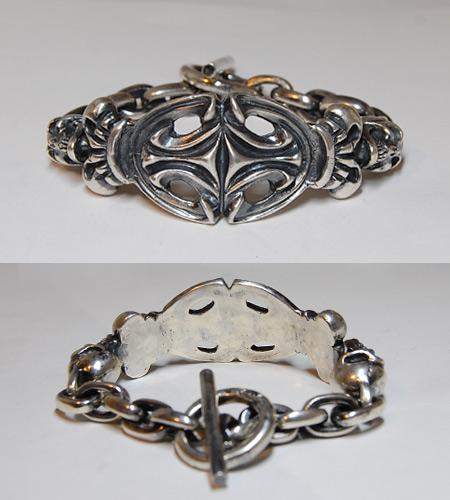 画像5: 2Skull On Top Sculpted Oval With 2Crown & Chain Links Bracelet