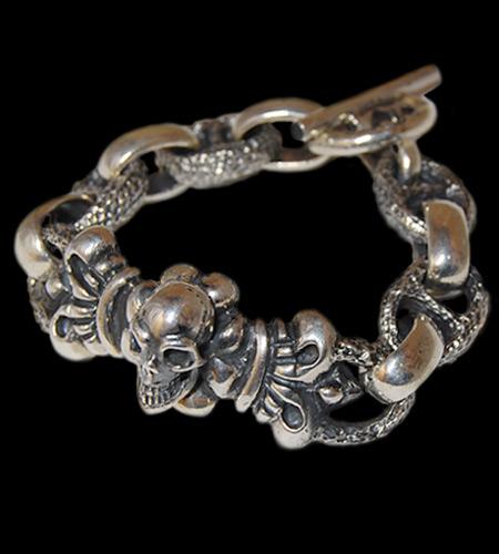 画像1: Skull On 4Heart Crown With H.W.O & Chiseled Marin Chain Bracelet