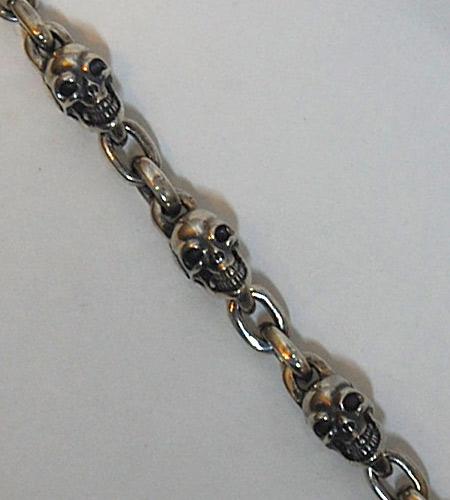 画像2: Slant Head Skull & Chain Link Bracelet